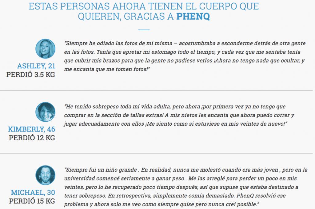 PhenQ Testimonios