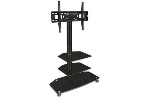 Soporte para TV móvil - con ruedas giratorias y estanterías de vidrio de tres niveles