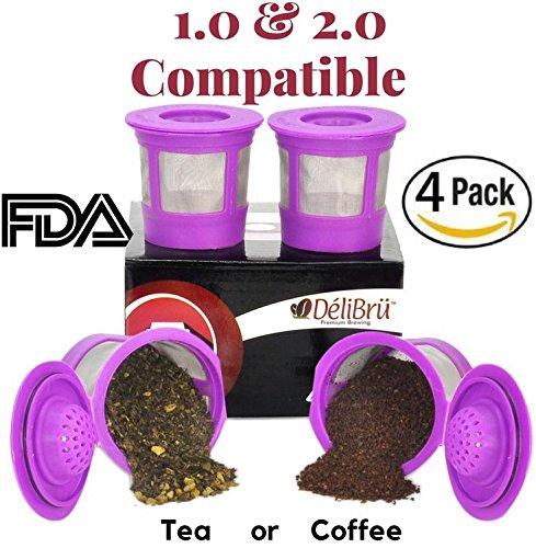 Copas K reutilizables recargables universales para cafeteras Keurig 2.0 y 1.0, paquete de 4