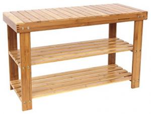SONGMICS Estante de almacenamiento de entrada de bandejas de 2 niveles para bandejas de zapatos 100% bambú ULBS04N