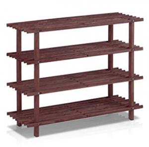 Zapatero de 4 niveles de madera maciza de pino Furinno