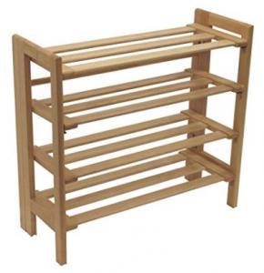 Rack de zapatos plegable de madera de 4 niveles
