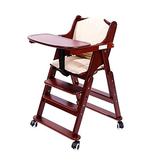 MallBoo Silla alta de madera maciza con ruedas ajustable para bebés