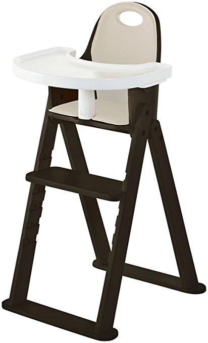 Silla alta para bebé plegable de madera con bandeja Ajustable de bambú Silla de altura