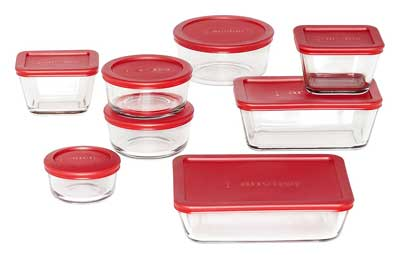 6. Recipiente de almacenamiento de alimentos de vidrio clásico de Hocking de ancla