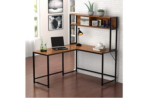 Little Tree Escritorio en forma de L con aparador, Escritorio de computadora en la esquina PC Computadora portátil Estudio Mesa de juegos Estación de trabajo