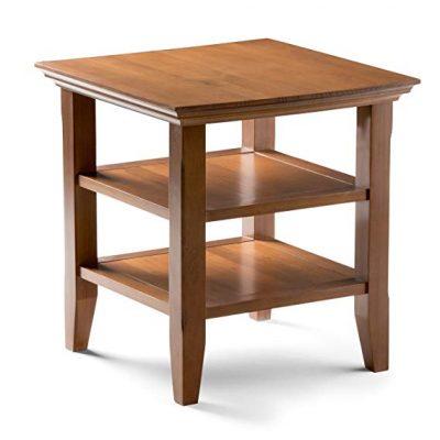 7. Simpli Inicio Acadian Mesa de extremo lateral de madera maciza