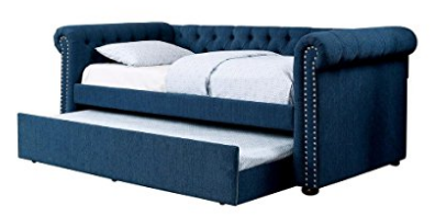 Barrie Nail Trim Button Tufted Full Size Daybed w / Trundle