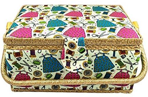 Cesto de costura cubierto de tela grande con bandeja de inserción y accesorios