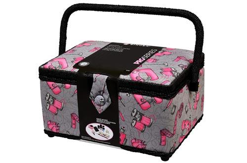 Cantante 57261 cestas de costura vintage, grandes, rosa / negro