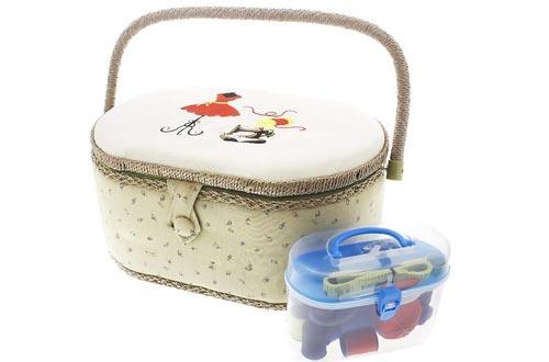 Kit de caja organizadora de cesta de costura vintage con costuras a mano, artículos y nociones