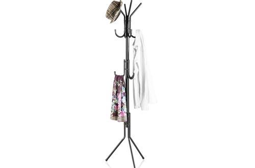 LANGRIA Metal Coat Rack Display Stand Árbol de hall con 3 gradas y 11 ganchos para ropa Bufandas y sombreros, acabado en negro