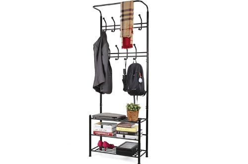 Homfa Fashion Heavy Duty Garment Rack with Shelves 3-Tier Shoes Rack,Coat Rack Hooks,Clothes Rack with Hanger Bar (Black)