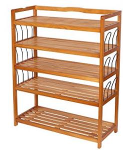 HOMFA Organizador de almacenamiento de almacenamiento de zapatos de madera de 5 niveles Entryway Zapatero