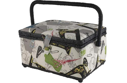 Singer 07281 Vintage Sewing Basket with Sewing Kit Accessories,